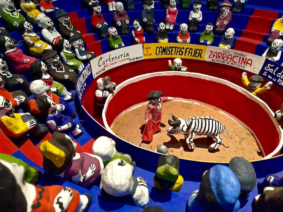 Calacas, skeleton figures in the bull fighting arena, Popular art museum Mexico city