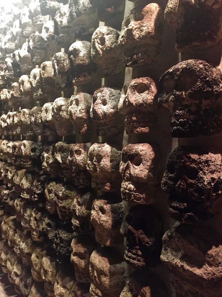 Skull stone wall in the Templo Mayor, Mexico City
