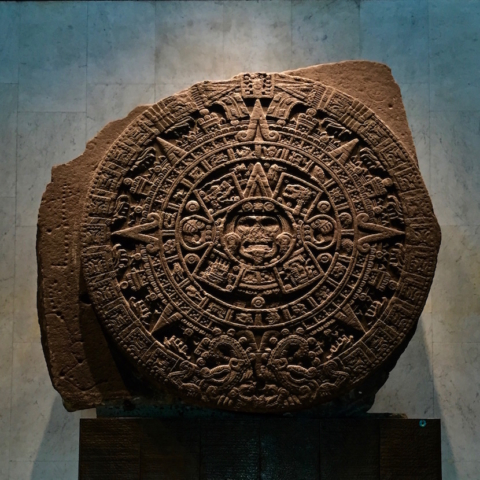 Sun stone or aztec calendar stone in the national museum of anthropology in Mexico City