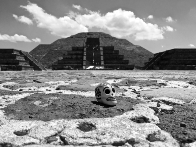 Ceramic skull in front of the pyramid of the moon, Teotihuacan