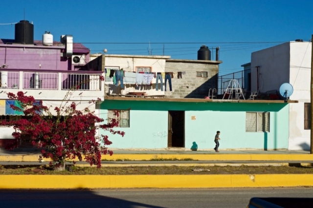 Colorful houses on the streets of north Mexico