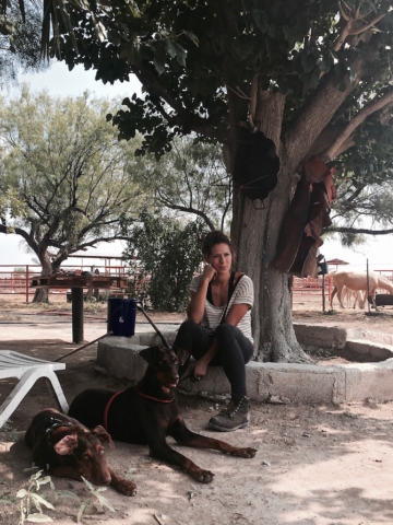 Sophie and the two doberman under a tree on a Mexican ranch
