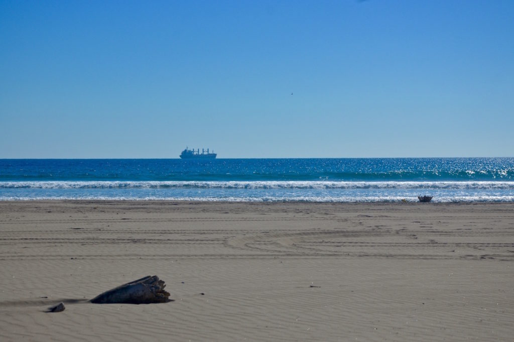 The pacific ocean with a log at the beach and a big ship at the horizon