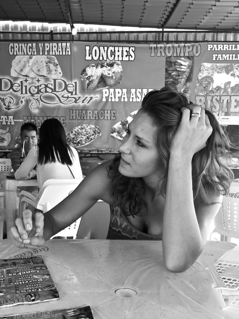 Sophie in a typical taco place in Mexico