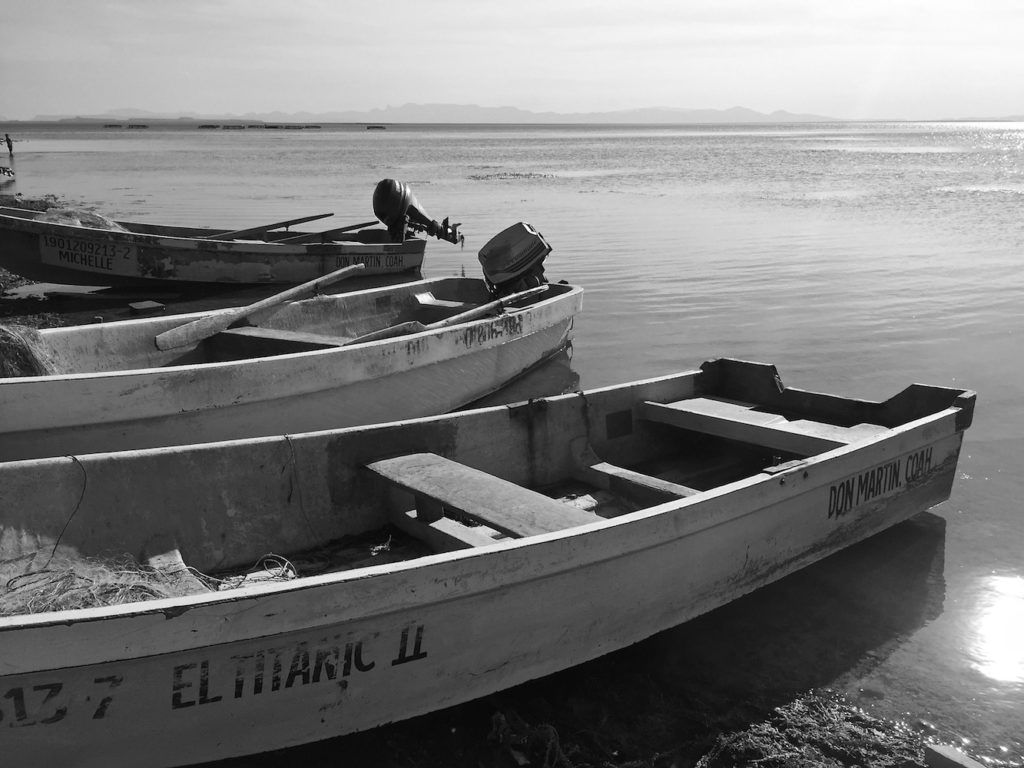 Boats of Mexican fisher man laying on the shore of a dam