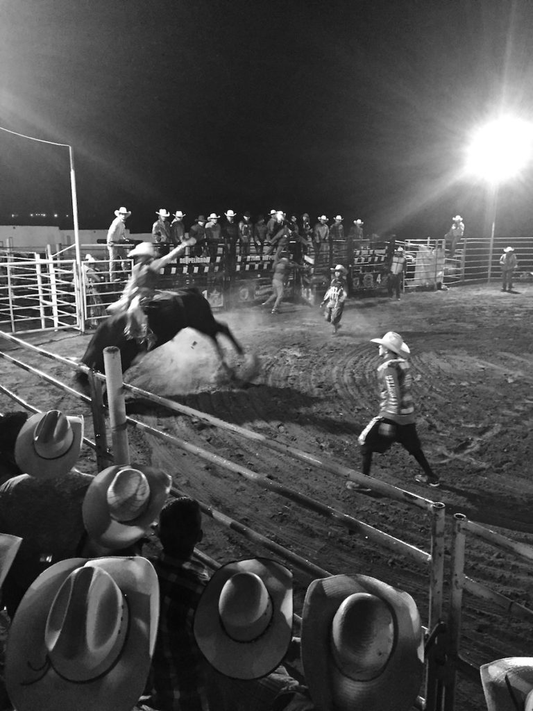 Cowboy riding a bull at a rodeo night in Mexico