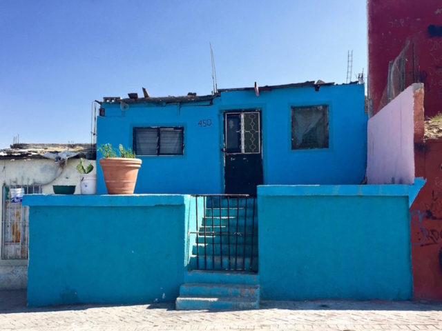 Blue house on the streets of Saltillo, Mexico