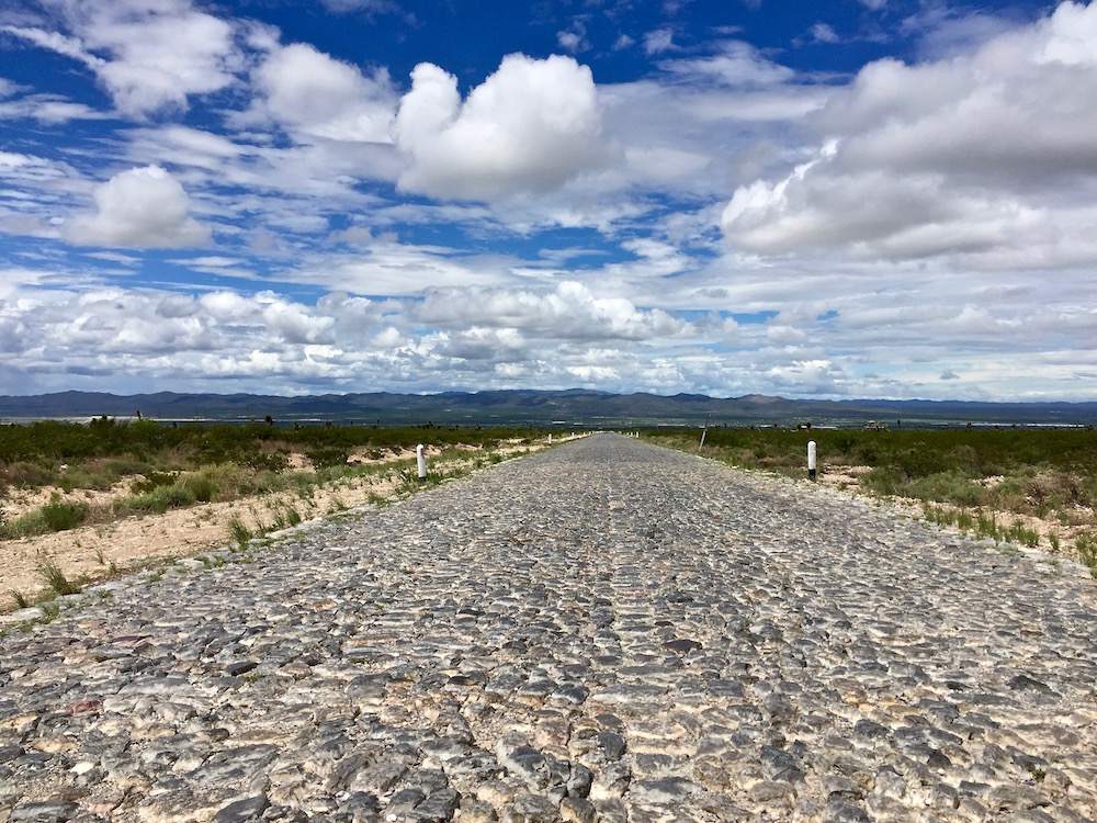 The long cobbled road back from the mountains of the Sierra Madre, Mexico