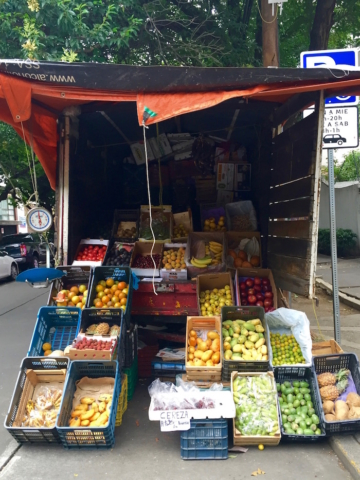 Different fruits sold out of a truck on the streets of Mexico city