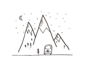 Simple black and white drawing of a stylized Volkswagen bus in front of the mountains at half moon