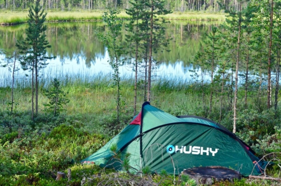Our tiny green tent at a pond in the woods in Sweden