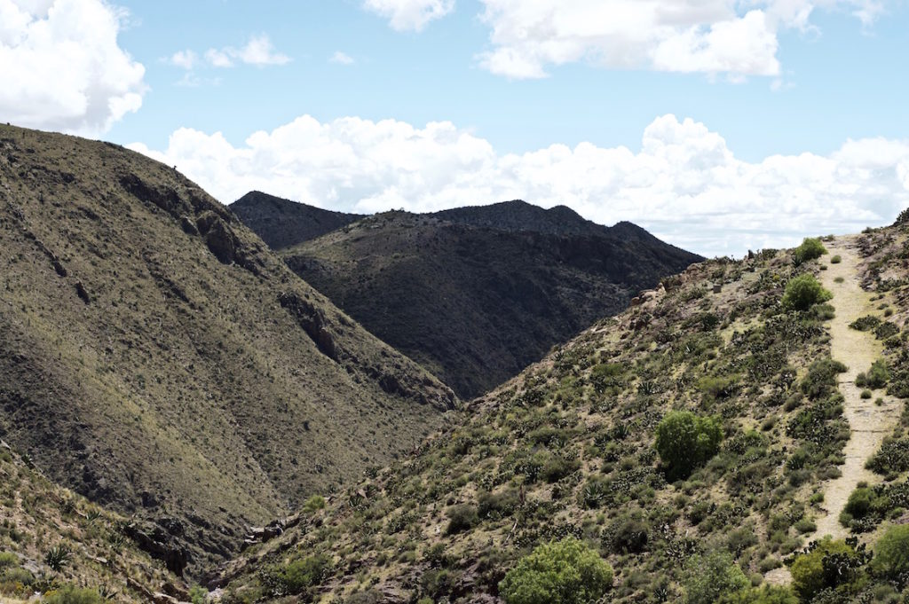 View over sparse mountains and dry canyons in the Sierra Madre, Mexico
