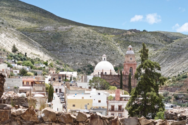 View over the village of Real de Catorce located in the sparse mountains of the Sierra Madre, Mexico