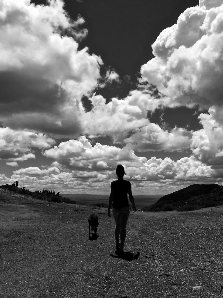 Sophie and Ikarus our young doberman walking to the edge of the mountain under a dramatic sky