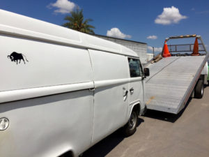 Being towed the first time on our tour with the van in Mexico