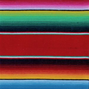 Colourful blue, black, yellow, red, green, white and pink stripes on a red Mexican blanket