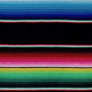 Strong and colourful stripes on a black Mexican blanket with green, yellow, blue, red, white and pink