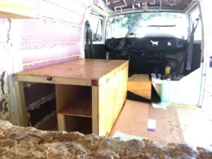 Making some progress on the van conversion. A bench and insulation are already built into the bus