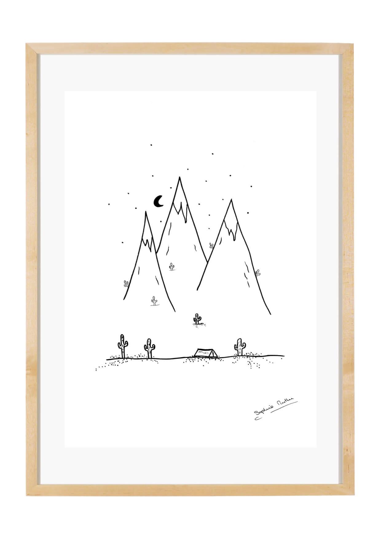Zelten in den Bergen gerahmt